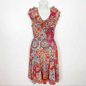 Lauren Ralph Lauren Colorful Ruffled Cotton Dress